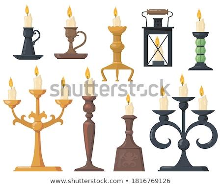 Świeca starych świecznik odizolowany biały świetle Zdjęcia stock © Taigi