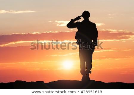 Foto stock: Soldados · ilustração · pôr · do · sol · céu · homens · silhueta