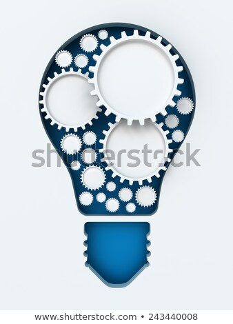 Stok fotoğraf: Light Bulb Paper Cut With Gears And Copyspace 3d Render