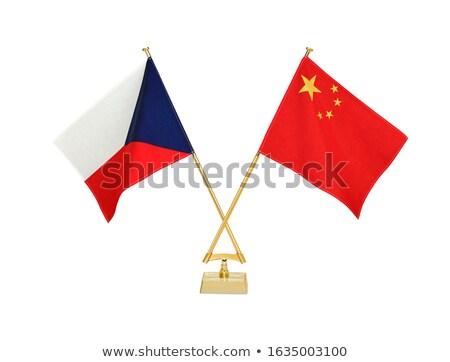 Cina Repubblica Ceca miniatura bandiere isolato bianco Foto d'archivio © tashatuvango