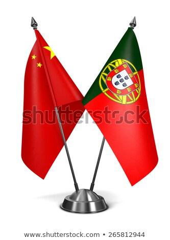 Çin Portekiz minyatür bayraklar yalıtılmış beyaz Stok fotoğraf © tashatuvango