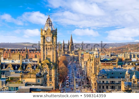 Edinburgh · Skócia · városkép · kastély · domb · alkonyat - stock fotó © romitasromala