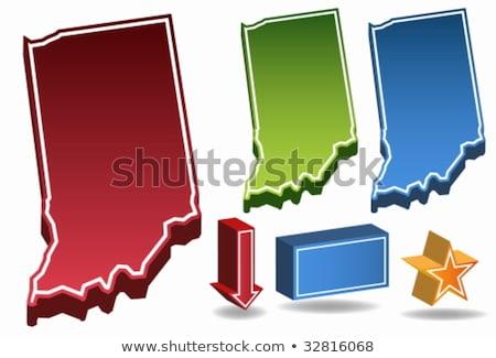 Indiana Rood USA 3D kaart ontwerp Stockfoto © iqoncept
