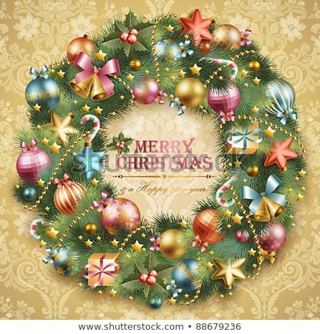 Noel · çelenk · yay · arka · plan · kırmızı - stok fotoğraf © loopall