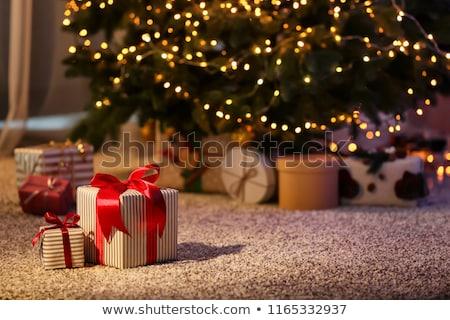 Noel hediyeler renkli beyaz ağaç doğum günü Stok fotoğraf © eleaner