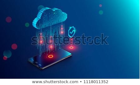Locked mobile computer, modern network symbols concept Stock photo © JanPietruszka