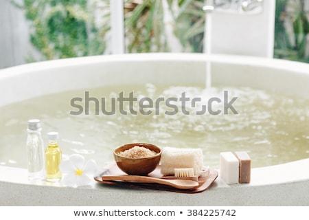 Fürdősó rusztikus fából készült virág háttér gyógyszer Stock fotó © saharosa