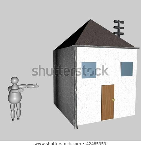 3D марионеточного дома серый стены Сток-фото © Koufax73
