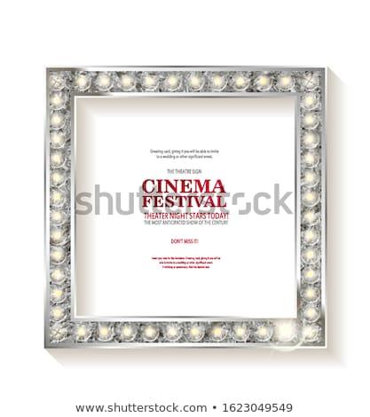 cartaz · estrela · forma · néon · cinema - foto stock © oblachko