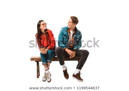 Odizolowany przypadkowy para młodych zaskakujący kobieta Zdjęcia stock © fuzzbones0