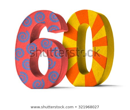 Colorful Paper Mache Number on a white background  - Number 60 Stock photo © Zerbor