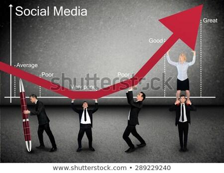üzlet · csapatmunka · előadás · vívmány · üzletember · munka - stock fotó © fuzzbones0