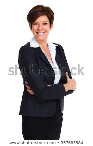 gyönyörű · üzletasszony · rövid · hajviselet · izolált · fehér - stock fotó © kurhan