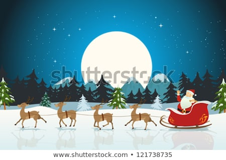 santa claus with his reindeer in fir forest vector stock photo © beaubelle