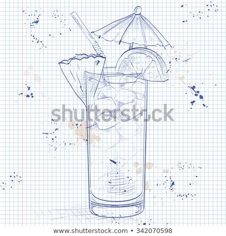 Planter Punch cocktail on a notebook page Stock photo © netkov1