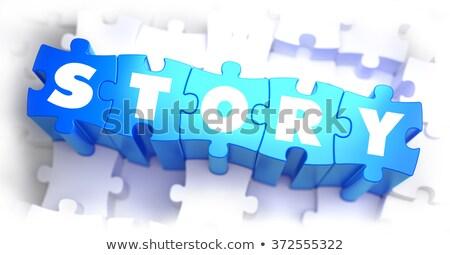story   white word on blue puzzles stock photo © tashatuvango