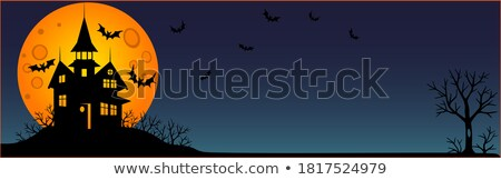 scary halloween castle with copy space eps 10 stock photo © beholdereye