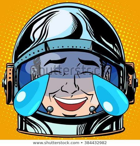 emoticon laughter tears emoji face man astronaut retro stock photo © studiostoks