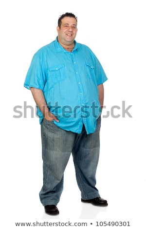 Túlsúlyos férfi izolált fehér étel egészség Stock fotó © Elnur