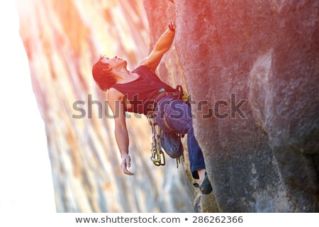 Rock climbing an overhanging face. Stock photo © gregepperson
