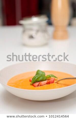 суп · овощей · чаши · древесины · зеленый · томатный - Сток-фото © Digifoodstock