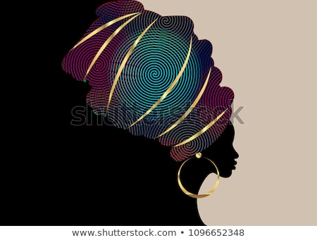 Photo stock: Africaine · femme · or · bleu · métallique · maquillage