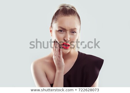 Foto d'archivio: Young Woman With Sensitive Toothache Crown Problem About To Cry From Pain