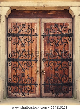 Weathered wooden door with rusty metal knockers Stock photo © stevanovicigor