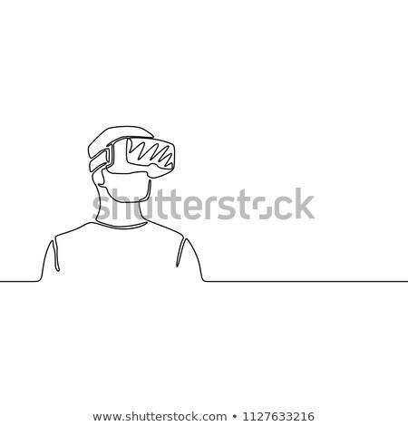 adam · gerçeklik · gözlük · kroki · ikon · vektör - stok fotoğraf © rastudio