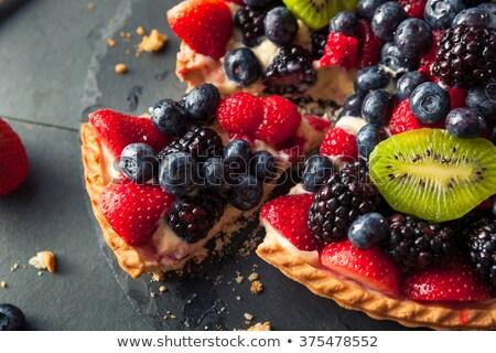 Szelet bogyós gyümölcs torta izolált fehér gyümölcs Stock fotó © Digifoodstock