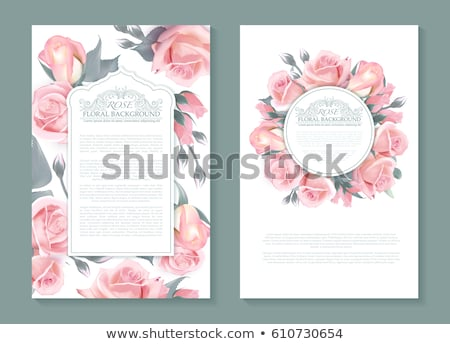 Round banner with pink roses Stock photo © blackmoon979