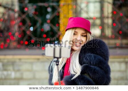 Zarif akıllı kadın lüks kürk Stok fotoğraf © konradbak