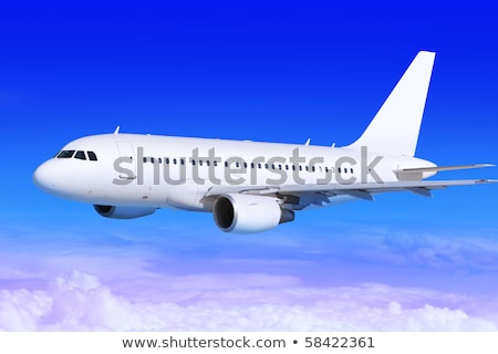 avião · branco · aterrissagem · longe · céu · azul - foto stock © ssuaphoto