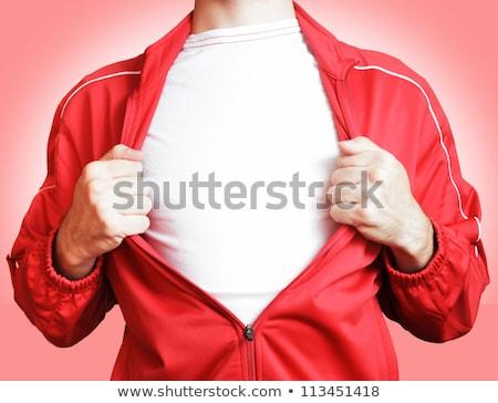 Foto stock: Herói · branco · tshirt · abrir