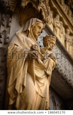 Mary Statue Door Facade Westminster Abbey London England Stock photo © billperry