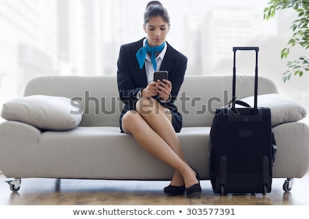 白人 スチュワーデス 携帯電話 ポインティング ストックフォト © RAStudio