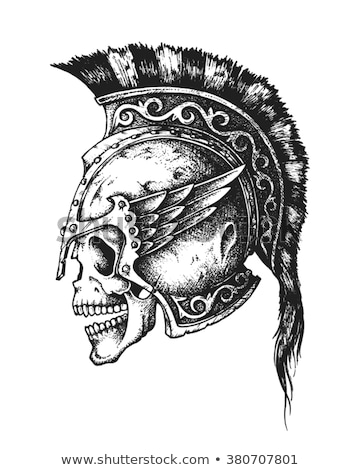 Spartan warrior skull in ancient helmet. Vector Stock photo © Andrei_
