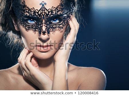 çekici kız karnaval maske karanlık kırmızı kız Stok fotoğraf © fotoduki