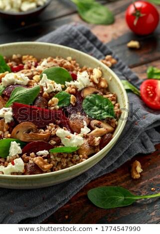 tasty tomatoes warm salad cheese and mushrooms stock photo © yatsenko