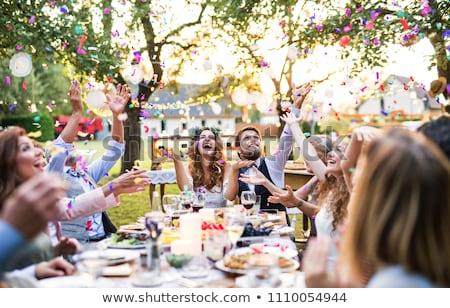 Asztal esküvő buli étel edények Stock fotó © carenas1