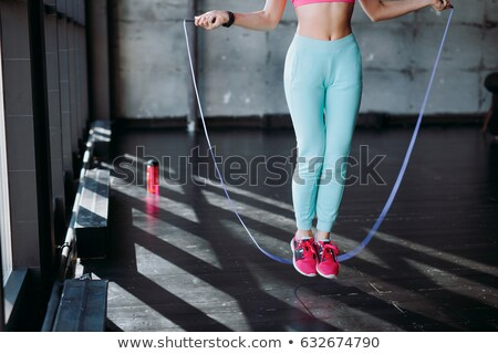 筋肉の · 若い女性 · 選手 · ロープ · 黒 · 見える - ストックフォト © master1305