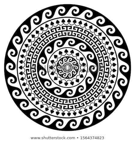 Greek vector mandala, Ancient round meander art in circle isolated on white  Stock photo © RedKoala