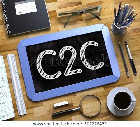 B2b klein schoolbord 3D Blauw Stockfoto © tashatuvango
