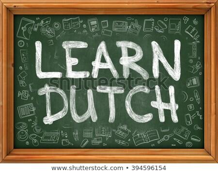 Stockfoto: Leren · nederlands · groene · schoolbord · doodle · iconen