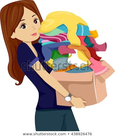 Menina adolescente roupa doar caixa ilustração Foto stock © lenm