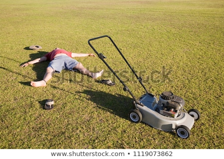 Man mowing a lawn Stock photo © IS2
