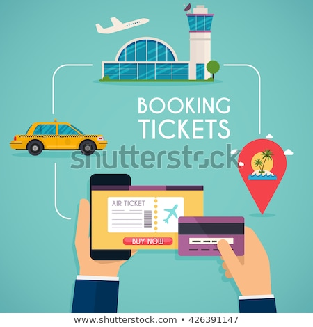 Online ordering and booking of air tickets. Vector Stock photo © Andrei_
