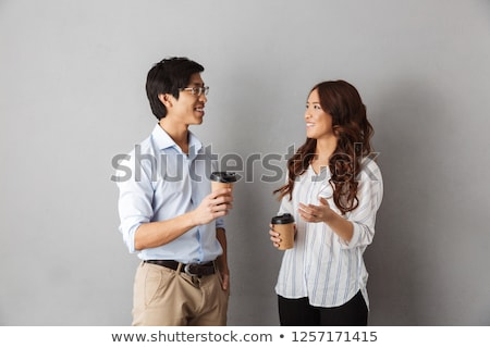 Man and woman talking over drinks Stock photo © IS2