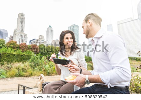 2 businesswomen eating lunch in park Stock photo © IS2