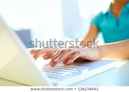 Tudás közelkép billentyűzet írott nagy kék Stock fotó © tashatuvango